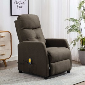 Fauteuil inclinable de massage Taupe Tissu