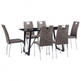 Ensemble de salle à manger 7 pcs Marron Similicuir