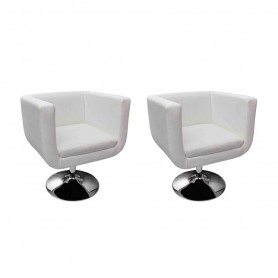 Chaises de bar 2 pcs Blanc Similicuir
