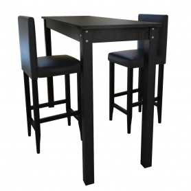 Set de 1 table de bar et 2 tabourets noir