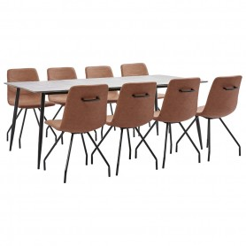Ensemble de salle à manger 9 pcs Marron Similicuir
