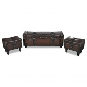Ensemble de bancs de rangement 3 pcs Marron