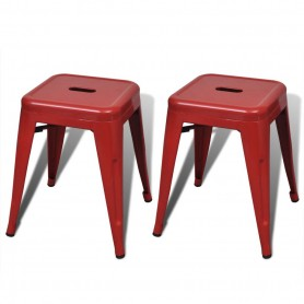 Tabourets empilables 2 pcs Rouge Métal