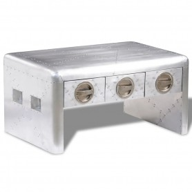 Table basse 3 tiroirs vintage Style d'aviation