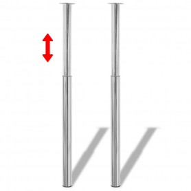 Pieds de table télescopique 2 pcs Chrome 710 mm - 1100 mm