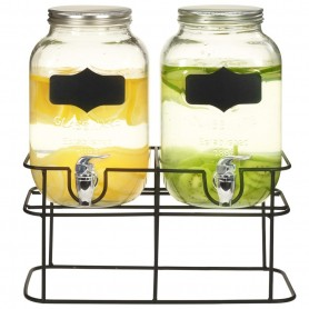 2 pcs Distributeurs de boissons avec support 2 x 4 L Verre
