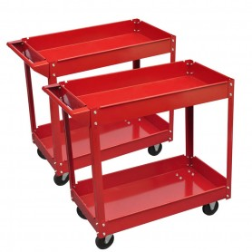Chariot servante d'atelier charge 100 kg rouge (lot de 2)