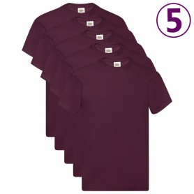 Fruit of the Loom T-shirts originaux 5 pcs Bordeaux XXL Coton