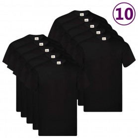 Fruit of the Loom T-shirts originaux 10 pcs Noir XXL Coton