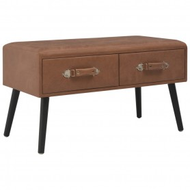 Table basse Marron foncé 80x40x46 cm Similicuir