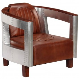 Fauteuil en style d'aviation Marron Cuir véritable