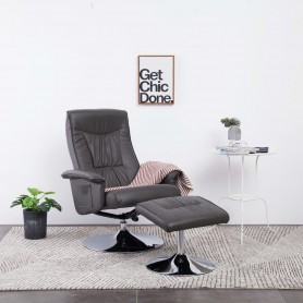 Fauteuil inclinable avec repose-pied Gris Similicuir